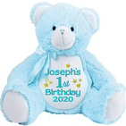 Personalised Birthday Blue Teddy Bear